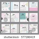 calendar template for year in... | Shutterstock .eps vector #577280419