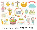 set of cute easter cartoon... | Shutterstock .eps vector #577281091