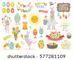 Stock vector set of cute easter cartoon characters and design elements easter bunny chickens eggs and flowers 577281109
