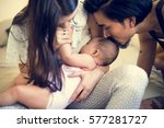 father and mother are taking... | Shutterstock . vector #577281727