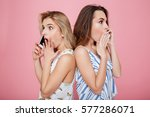 two shocked surprised young... | Shutterstock . vector #577286071