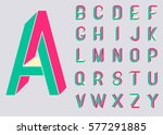 Impossible shape font. Memphis style letters. Colored letters in the style of the 80s. Set of vector letters constructed on the basis of the isometric view.  Vector illustration 10 eps.   | Shutterstock vector #577291885