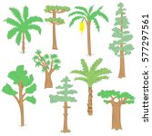 hand drawn set of green trees.... | Shutterstock .eps vector #577297561