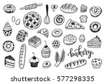 hand drawn sketch bakery set.... | Shutterstock .eps vector #577298335
