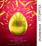 Easter Eggs In Gold Color For...