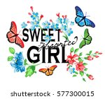 flower butterfly and slogan... | Shutterstock .eps vector #577300015