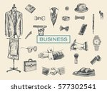 businessman accessories hand... | Shutterstock .eps vector #577302541