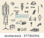 businessman accessories hand... | Shutterstock .eps vector #577302541