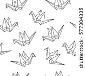 seamless pattern with origami... | Shutterstock .eps vector #577304335