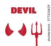 devil horns and trident set... | Shutterstock .eps vector #577310629
