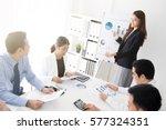 asian business woman presenting ... | Shutterstock . vector #577324351