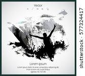 dancing people  easy editable... | Shutterstock .eps vector #577324417
