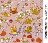 summer floral seamless pattern  ... | Shutterstock .eps vector #577324744