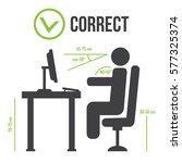 correct sitting posture correct ... | Shutterstock .eps vector #577325374