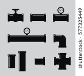 Pipe Fittings Vector Icons Set...