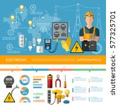 professional electrician... | Shutterstock .eps vector #577325701