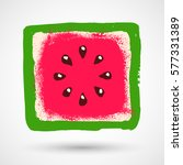 watermelon icon in grunge style ...