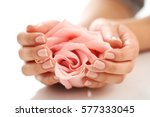 skin care. hands with pink rose ... | Shutterstock . vector #577333045