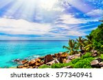 tropical beach on the sunny day | Shutterstock . vector #577340941