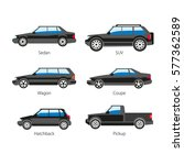 car body types vector flat... | Shutterstock .eps vector #577362589