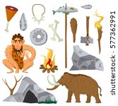 stone age vector flat icons set ... | Shutterstock .eps vector #577362991