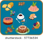 icon set of cup of tea  ... | Shutterstock .eps vector #57736534