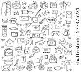 hand drawn doodle postal... | Shutterstock .eps vector #577375231