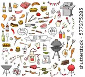 hand drawn doodle bbq party... | Shutterstock .eps vector #577375285