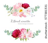 floral mix wreath vector design ... | Shutterstock .eps vector #577381531