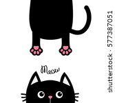 black cat funny face head... | Shutterstock .eps vector #577387051