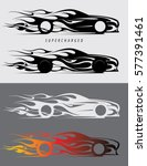 sports car emblem with fire... | Shutterstock .eps vector #577391461