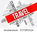 travel word cloud collage ... | Shutterstock .eps vector #577395124
