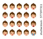 set of a woman faces showing... | Shutterstock .eps vector #577397311
