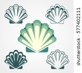 shell symbol collection... | Shutterstock .eps vector #577402111