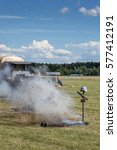 Small photo of RYBNIK, POLAND - JUNE 18, 2016: German soldier dies from air attack during WWI historical reconstruction