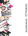 different makeup cosmetics on... | Shutterstock . vector #577418101