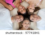 athletic group of people lying... | Shutterstock . vector #57741841