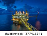 offshore oil and gas processing ... | Shutterstock . vector #577418941
