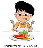 kid happy with steak.vector and ... | Shutterstock .eps vector #577422487