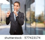 worried young man asking for... | Shutterstock . vector #577423174