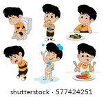 set of daily activities... | Shutterstock .eps vector #577424251