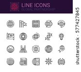 simple icons set of global... | Shutterstock .eps vector #577427845