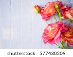 Blue Background With Flowers