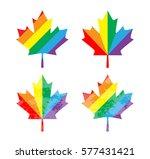 icon canada maple leaf. rainbow ...