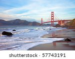 golden gate bridge at sunset... | Shutterstock . vector #57743191