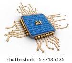 3d illustration of microchip... | Shutterstock . vector #577435135