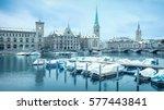 winter landscape of zurich with ...   Shutterstock . vector #577443841