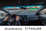 city road view from inside car... | Shutterstock . vector #577446289