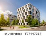 modern block of flats with blue ... | Shutterstock . vector #577447387
