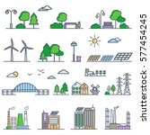 eco city in linear style  ... | Shutterstock .eps vector #577454245